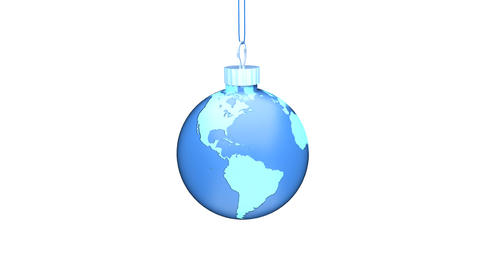 Christmas Ball EARTH blue Loop (HD 30fps + Alpha) Animation