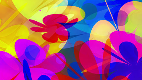 PowerFlowers - Colorful Abstract Blossoms Video Ba Stock Video Footage
