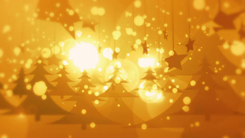 Golden Christmas - Snow / Christmas Video Background Loop Stock Video Footage