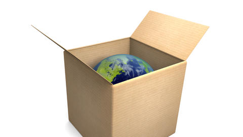 Cardboard Box with Earth Zoom Animation