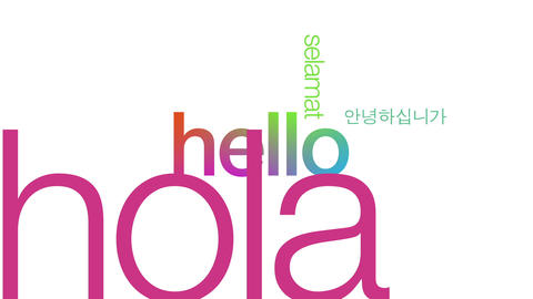 Hello in different languages Stock Video Footage