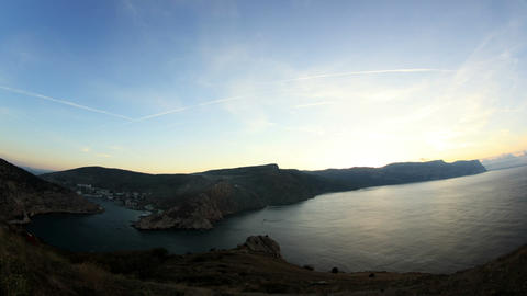 Timelapse sunrise in the mountains. Balaklava, Crimea, Ukraine Footage