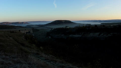 Timelapse sunrise in the mountains. Cave city... Stock Video Footage
