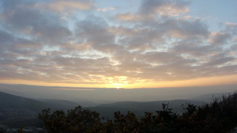 Timelapse sunset in the mountains. Cave city Eski-Kermen,... Stock Video Footage