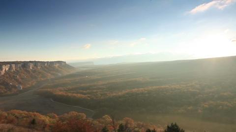 sunrise in the mountains. Cave city Eski-Kermen, Crimea,... Stock Video Footage