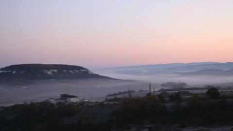 sunrise in the mountains. Cave city Eski-Kermen, Crimea,... Stock Video Footage
