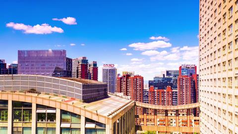 Skyscrapers in Beijing. Timelapse Footage