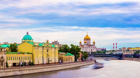 Moscow city on sunset. Russia Stock Video Footage