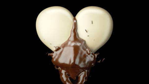 Milky heart shape and hot chocolate splashes, slow motion. Alpha matte is included Animation