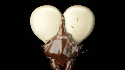 Milky heart shape and hot chocolate splashes, slow... Stock Video Footage