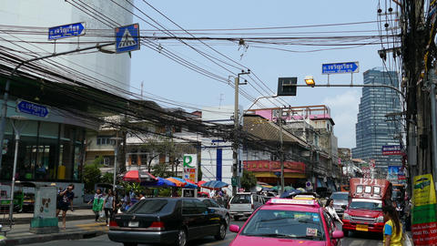 Taxis in the street of Silom Bangkok Footage