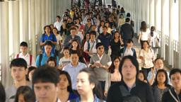 Asian crowd in Bangkok Footage