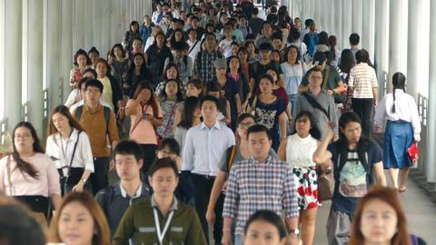 Asian crowd walking in Bangkok Footage