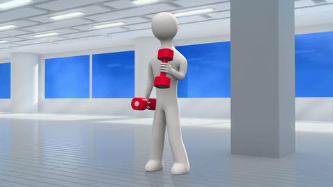 3d man exercising with dumbbells in the gym. Green screen background is included Animation
