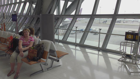 Woman Waiting For The Departure stock footage