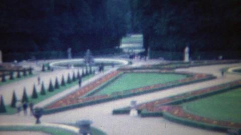 1963: Fancy Roman Italian wealthy manicured garden grounds Footage