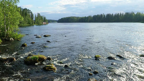 Streaming rapid Siikakoski in Konnevesi, Finland. Slow motion Footage