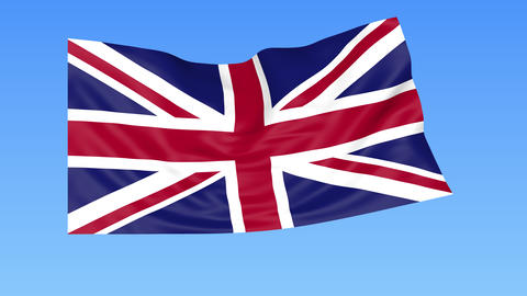 Waving flag of the United Kingdom of Great Britain and Northern Ireland Footage