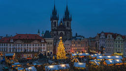 Christmas Market in Prague in the Czech Republic 영상물
