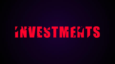Investments text. Liquid animation background Bild