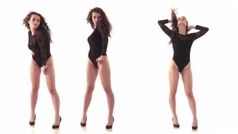 3 videos in one. Beautiful and sexy young woman in a black body with dark hair Footage