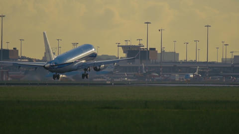 Twin engine airplane of KLM Airlines landing at Schiphol Footage