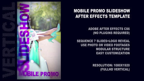 Mobile Promo Presentation Slideshow Vertical AE Template After Effectsテンプレート