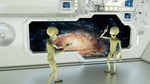 Aliens on a spaceship arguing on background galaxies. A futuristic concept of a CG動画素材