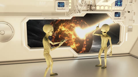 Aliens on a spaceship arguing on background exploding planet Earth. A futuristic CG動画素材