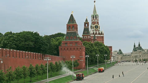 Watering machines in action near Moscow Red square. Slow motion shot Footage