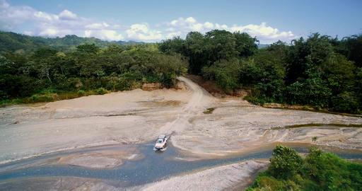 527 Aerial, 4x4 Offroader In Parque Nacional Corcovado, Costa Rica 4K graded Footage