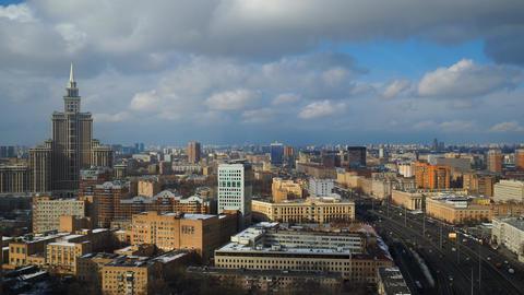 Moscow cloudy sky time lapse. Leningradsky prospekt avenue . High altitude shot Footage