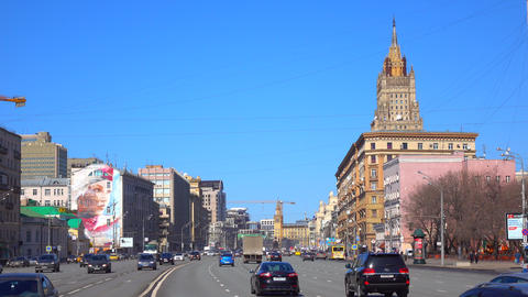 Incoming and outgoing traffic of wide city highway 4K video. Moscow, Russia Footage