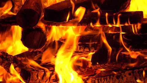 4K close up video of burning firewoods in a fireplace Footage
