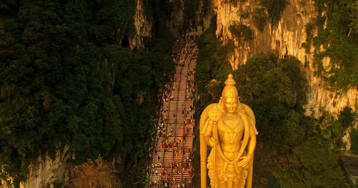 Batu Caves sunset on Thaipusam festival evening 2018, Malaysia Footage
