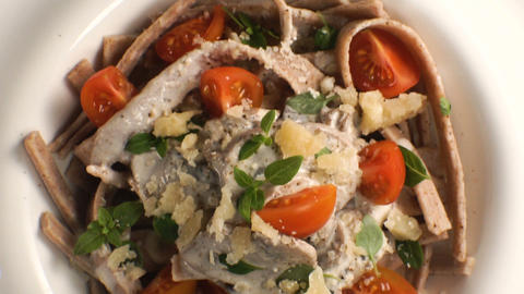 Italian pasta with mushroom sauce. Video Footage