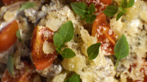 Ready-made pasta dish with mushroom sauce. Video Footage