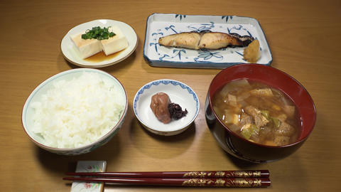 Japanese food : Standard popular set meal. Rice, Miso soup, Umeboshi, Tofu, Footage