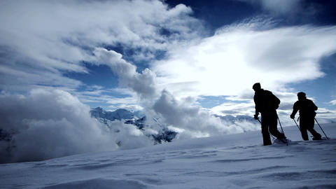 Tour trip traveling hikers walking winter expedition snow lanscape Live Action