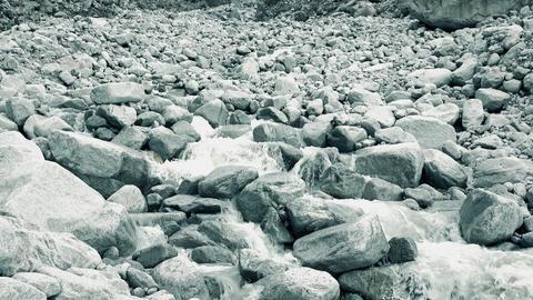Mounain river flows on rocks, wide angle 4K video Footage
