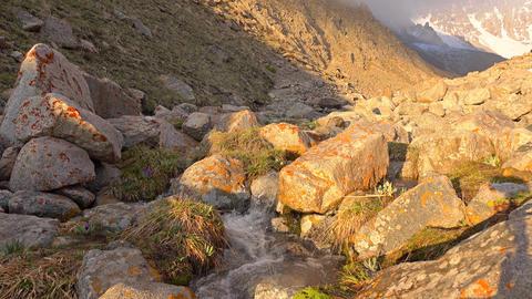 Beautiful mountain steam and orange rocks 4K shot Footage