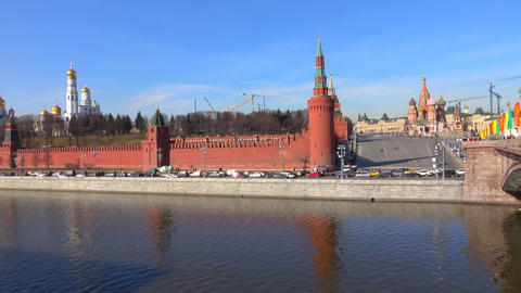 Moscow river and Kremlin embankment sunny day time lapse Footage