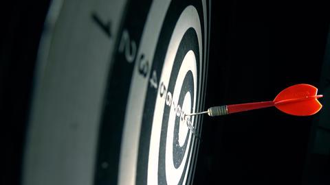 Red dart hits bull's eye of circular target. Success concept Footage