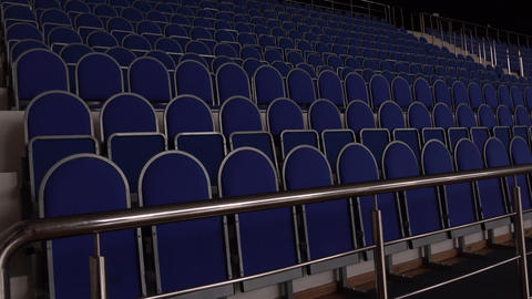 Blue seats in empty concert and sports hall pan shot Footage