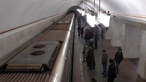 Train arrives and departs from Moscow metro station Kurskaya (ring). 16-02-2016 Footage
