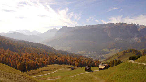 tracking shot barns in autumn Alta Badia, Dolomites Footage