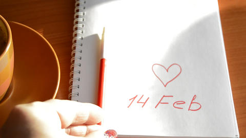 Valentine's Day Cup of coffee, a notebook with a record of February 14, heart, 영상물