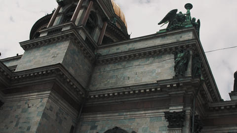 Saint Isaac Cathedral on Saint Isaac's Square in Saint Petersburg on warm day Footage