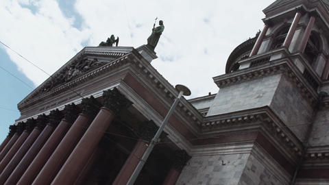 Saint Isaac Cathedral on Saint Isaac's Square in Saint Petersburg on sunny day Footage