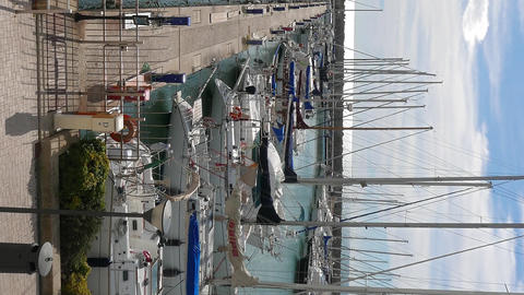 Vertical video. Yachts in the port of Ostia, Italy 영상물